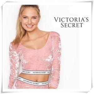 NWOT Victoria's Secret Velvet Spell-out Crop Top